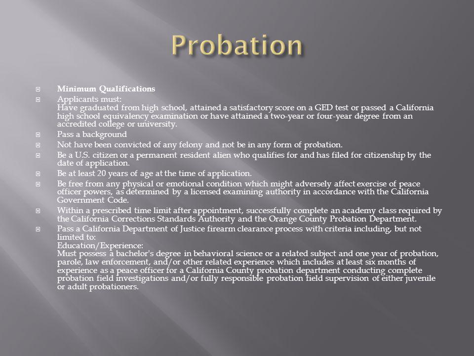 Probation Minimum Qualifications