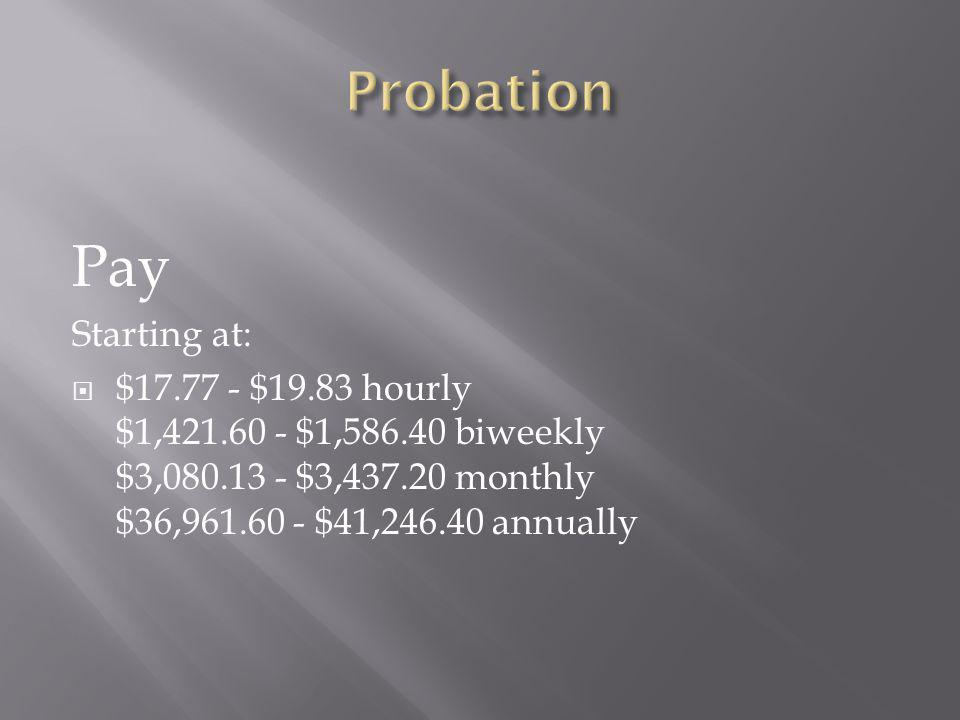 Pay Probation Starting at:
