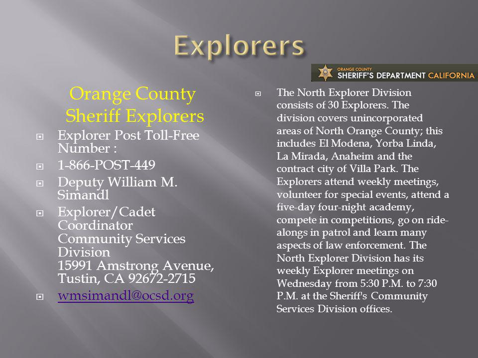 Explorers Orange County Sheriff Explorers