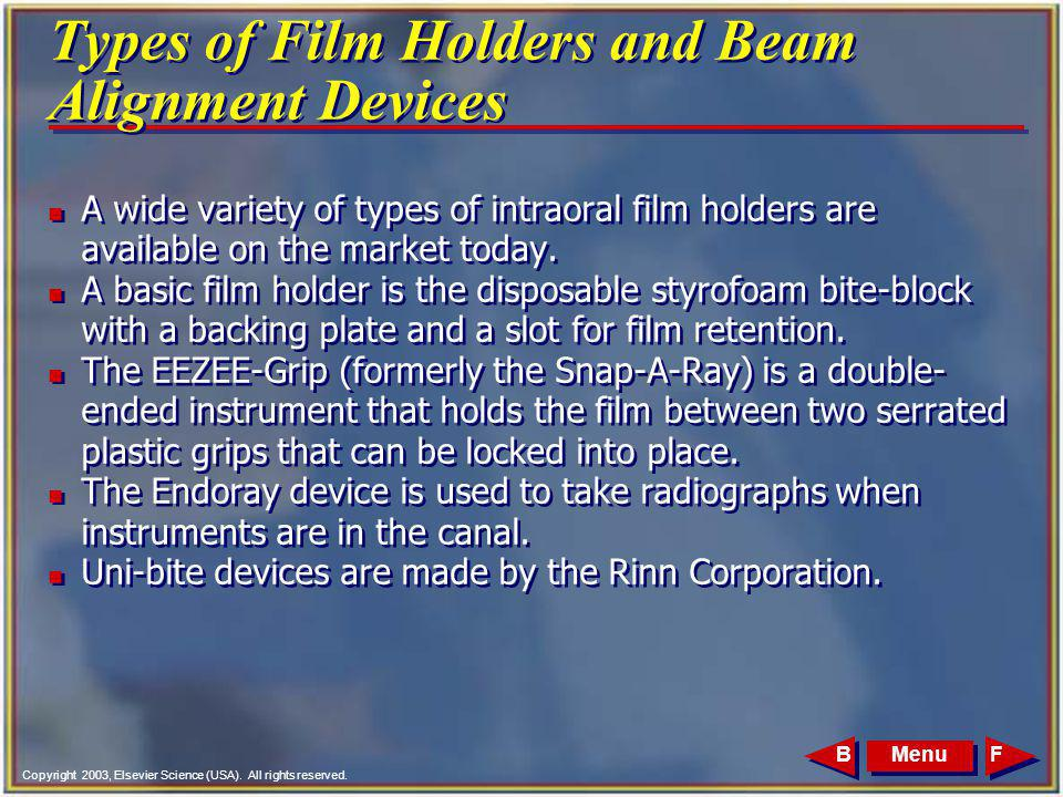 Types of Film Holders and Beam Alignment Devices