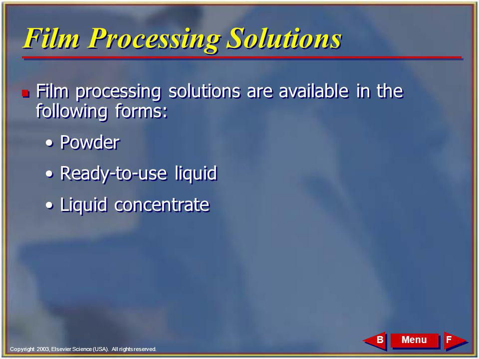 Film Processing Solutions