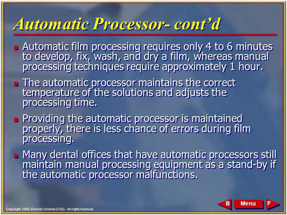 Automatic Processor- cont'd