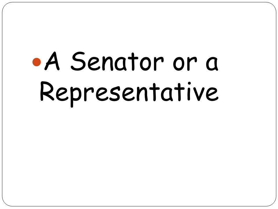 A Senator or a Representative