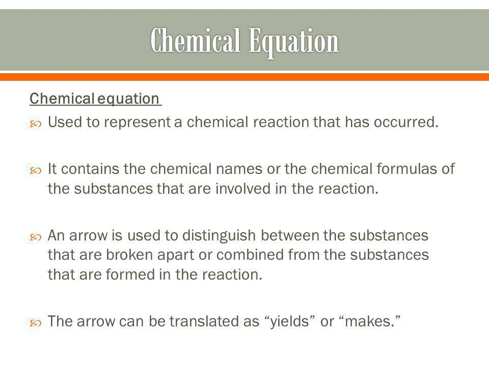 Chemical Equation Chemical equation