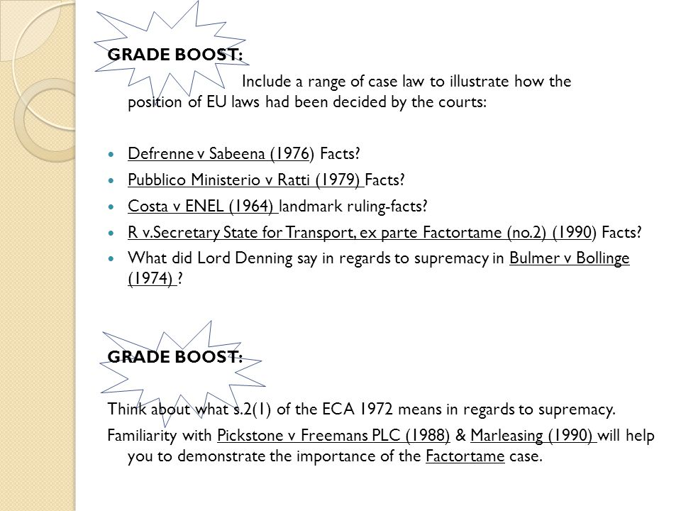 GRADE BOOST: Include a range of case law to illustrate how the position of EU laws had been decided by the courts: