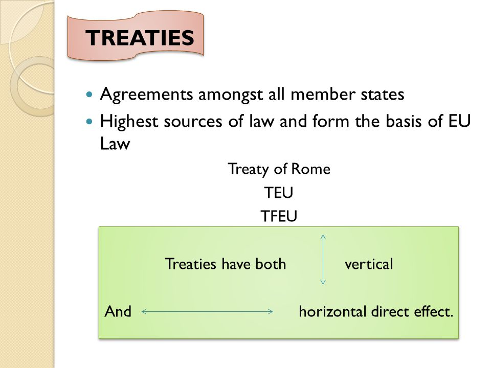 TREATIES Agreements amongst all member states