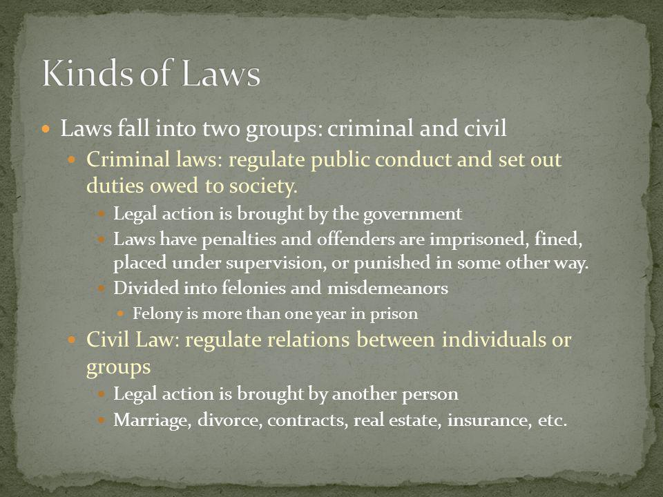 Kinds of Laws Laws fall into two groups: criminal and civil