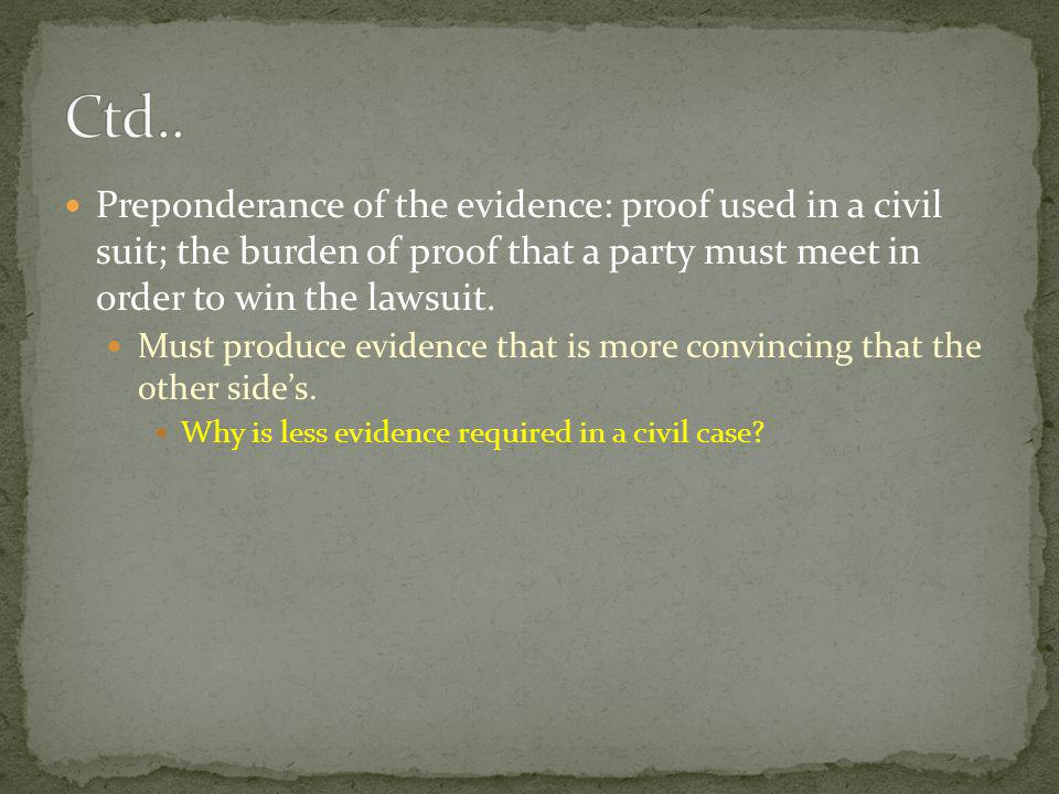 Ctd.. Preponderance of the evidence: proof used in a civil suit; the burden of proof that a party must meet in order to win the lawsuit.