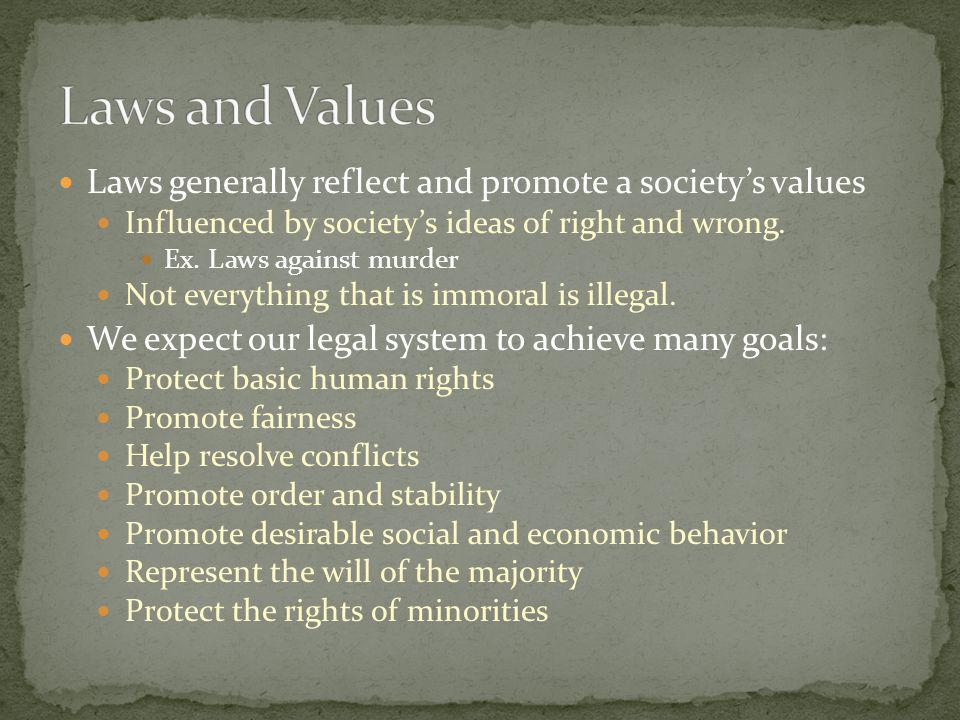 Laws and Values Laws generally reflect and promote a society's values