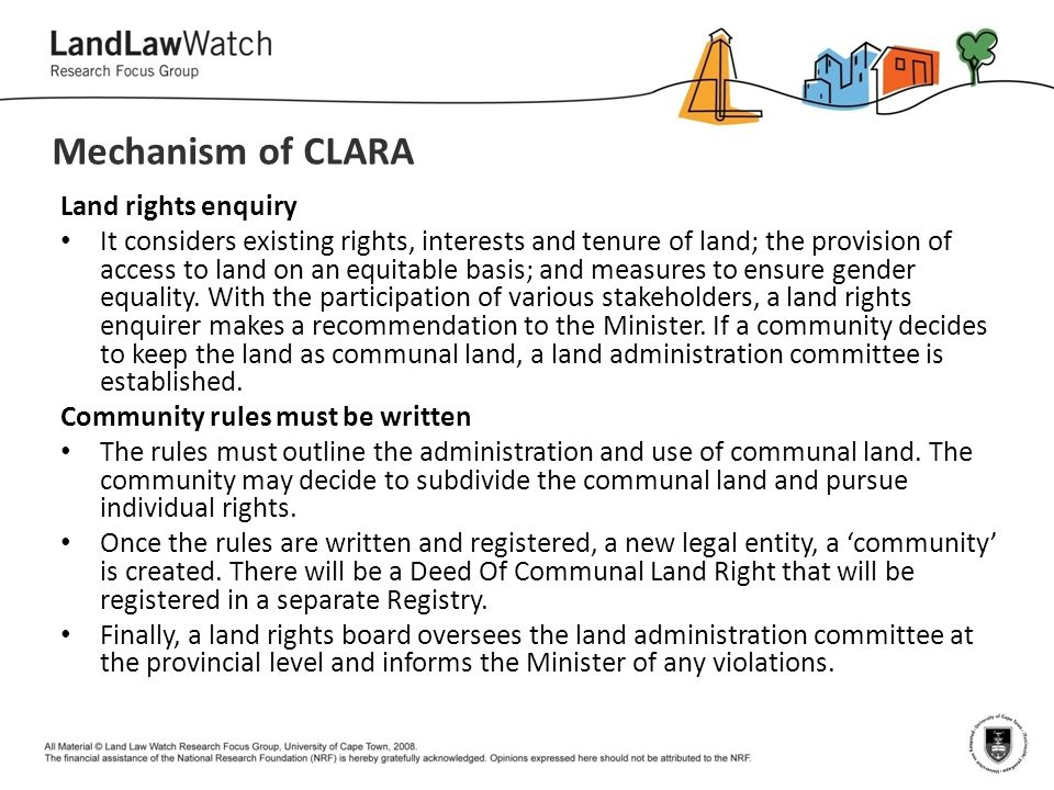 Mechanism of CLARA Land rights enquiry
