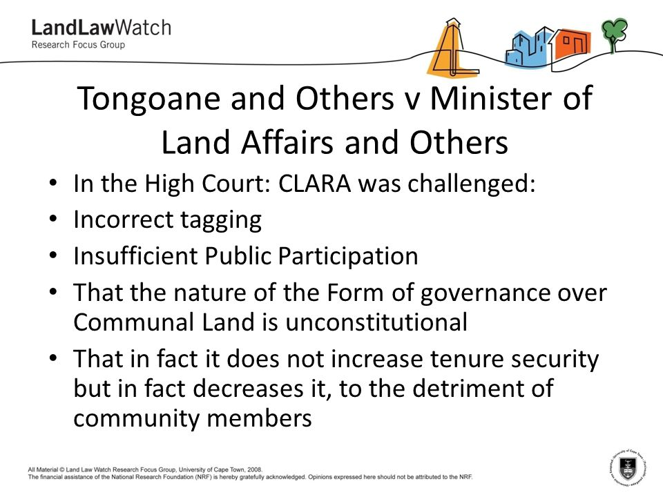 Tongoane and Others v Minister of Land Affairs and Others