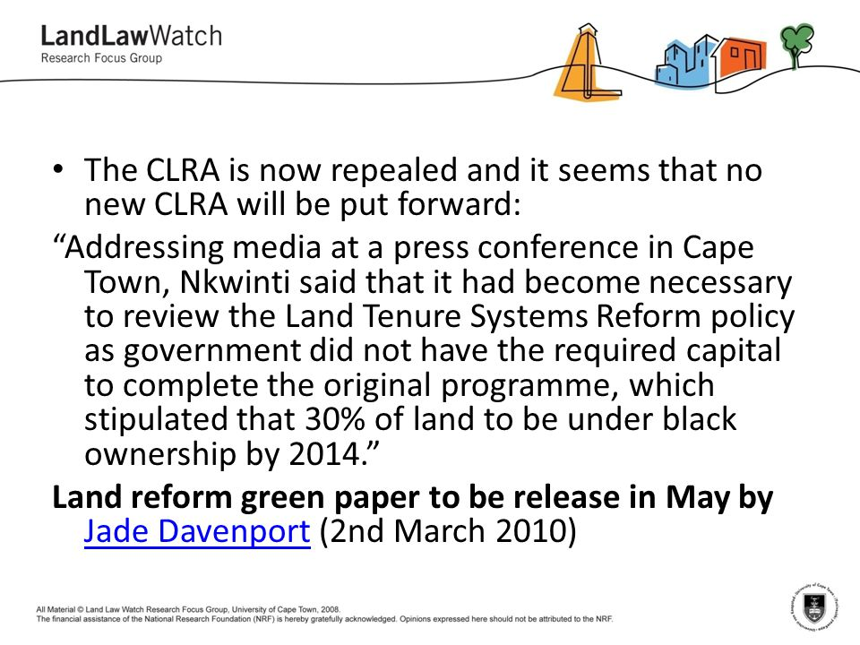 The CLRA is now repealed and it seems that no new CLRA will be put forward: