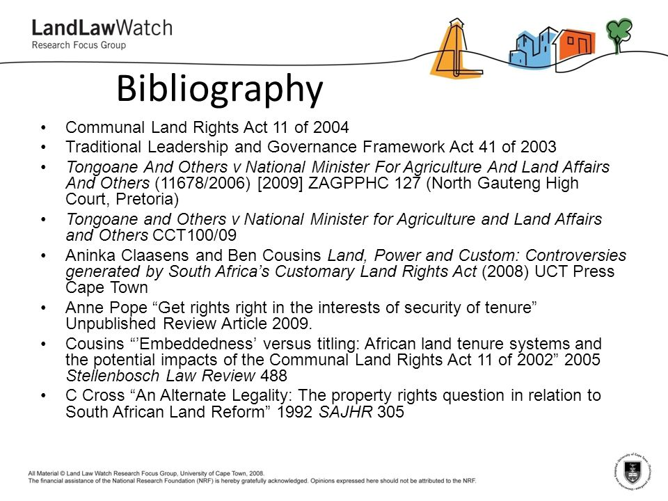 Bibliography Communal Land Rights Act 11 of 2004
