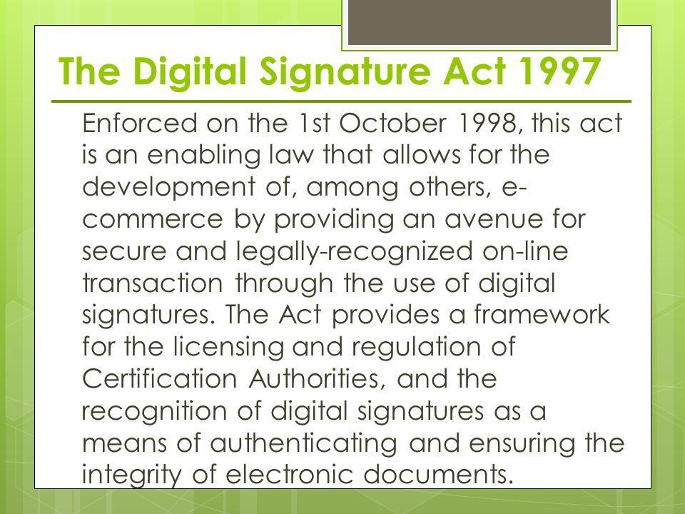 The Digital Signature Act 1997