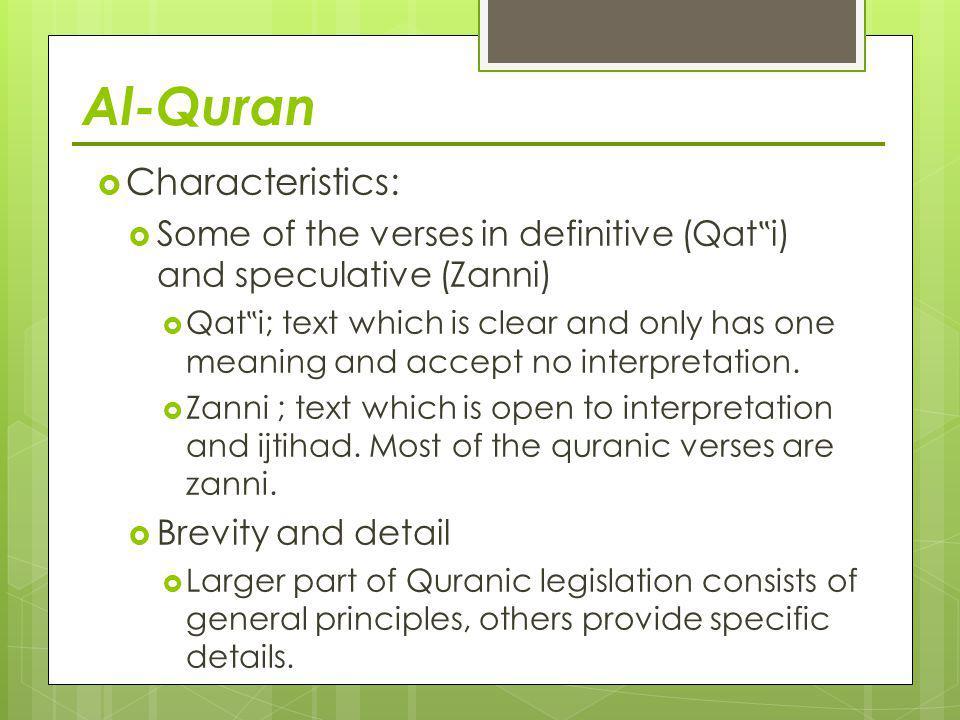Al-Quran Characteristics: 