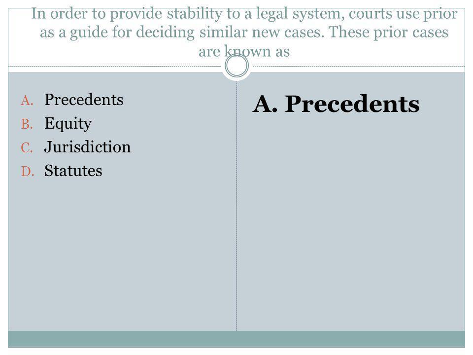 A. Precedents Precedents Equity Jurisdiction Statutes