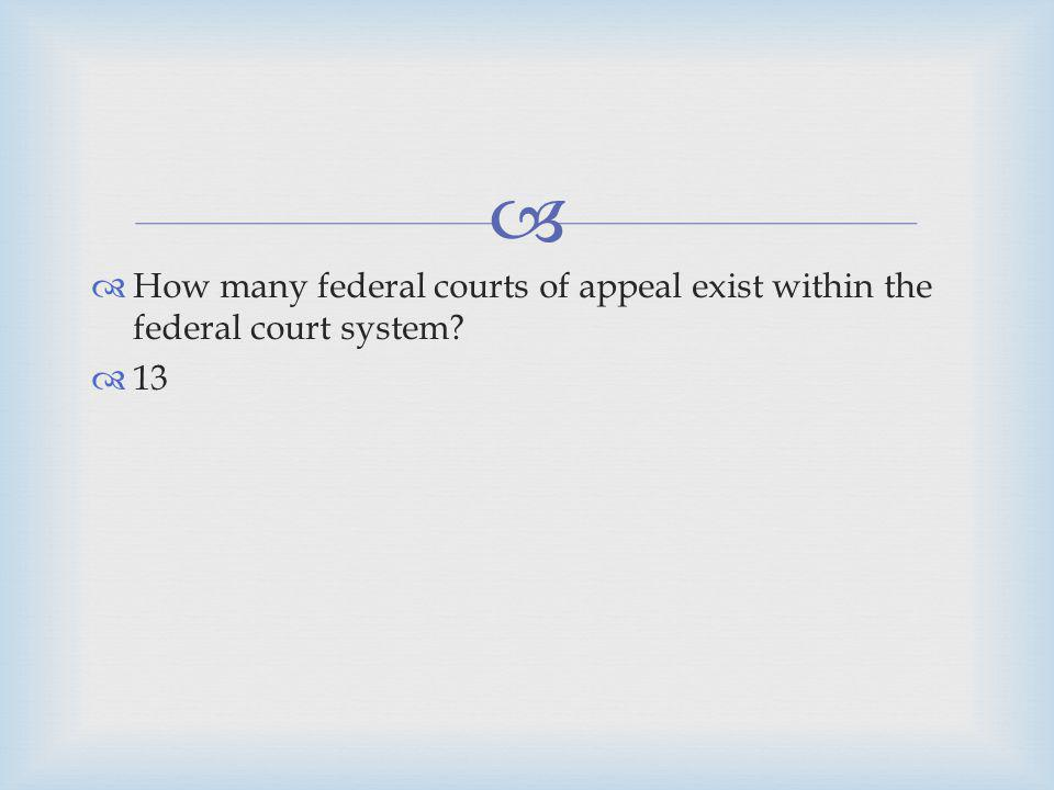How many federal courts of appeal exist within the federal court system
