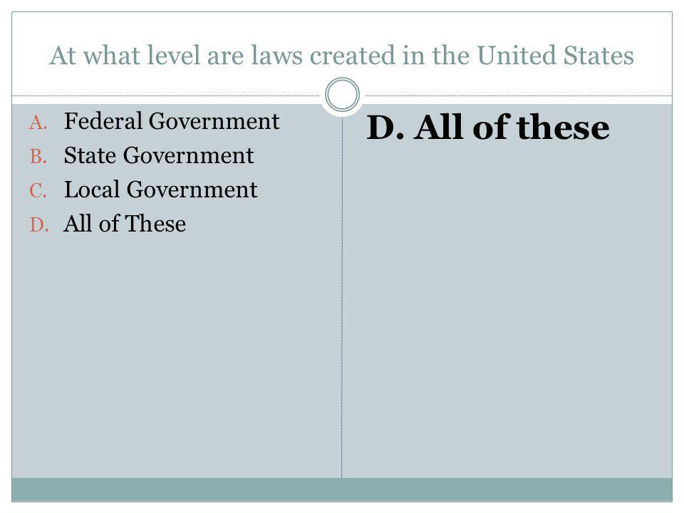 At what level are laws created in the United States