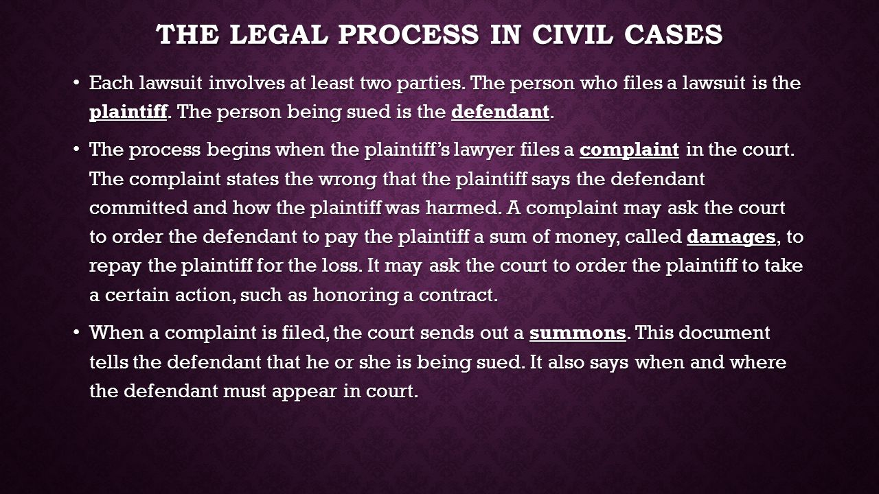 The legal process in civil cases