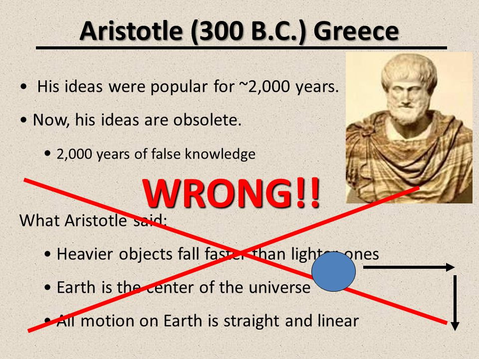 WRONG!! Aristotle (300 B.C.) Greece