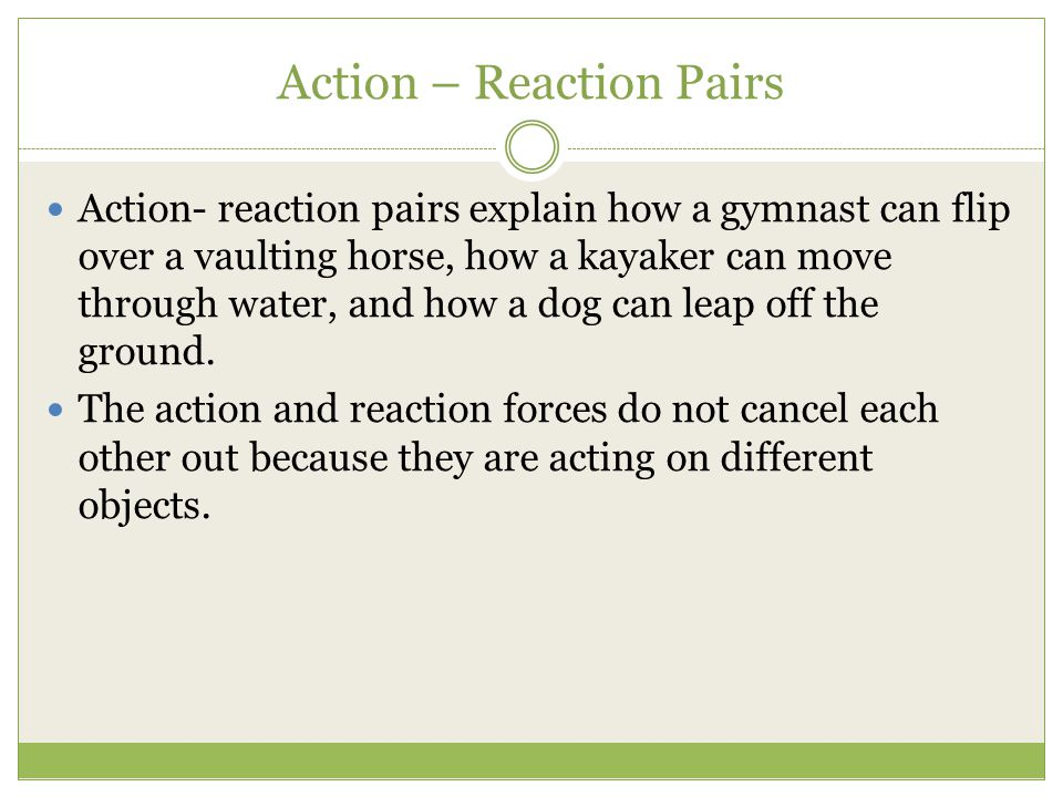 Action – Reaction Pairs