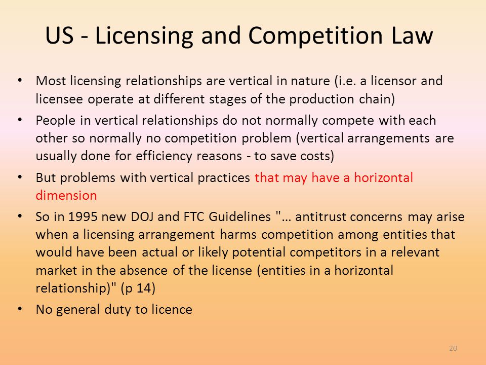 US - Licensing and Competition Law