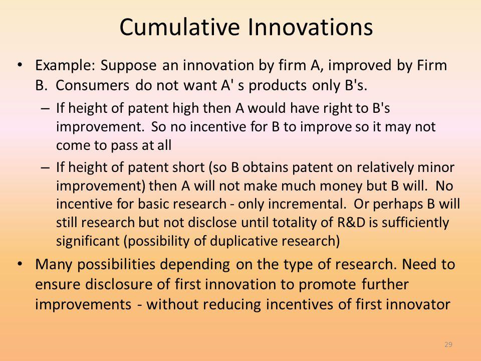 Cumulative Innovations