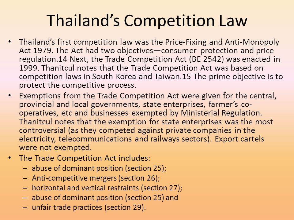 Thailand's Competition Law