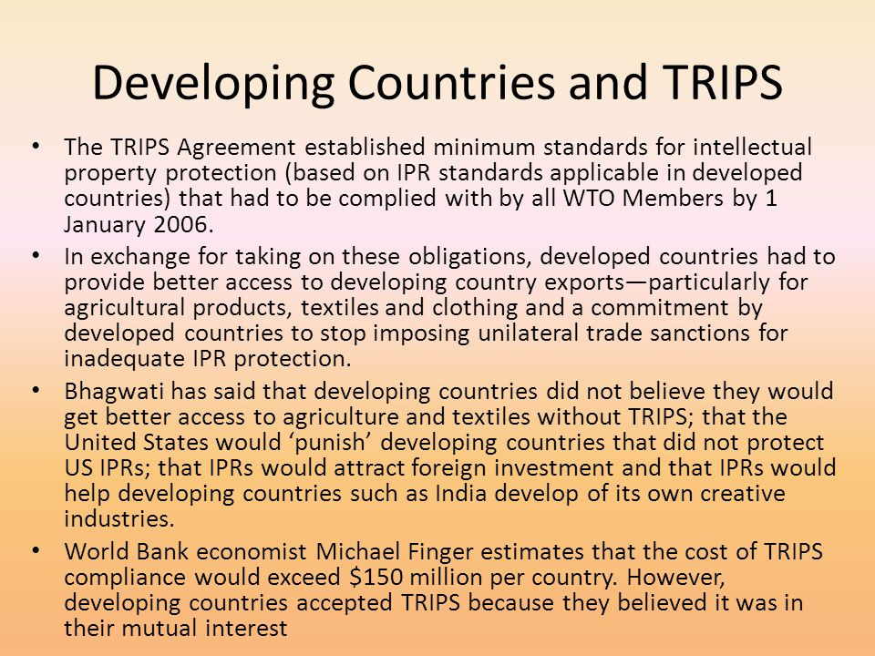 Developing Countries and TRIPS