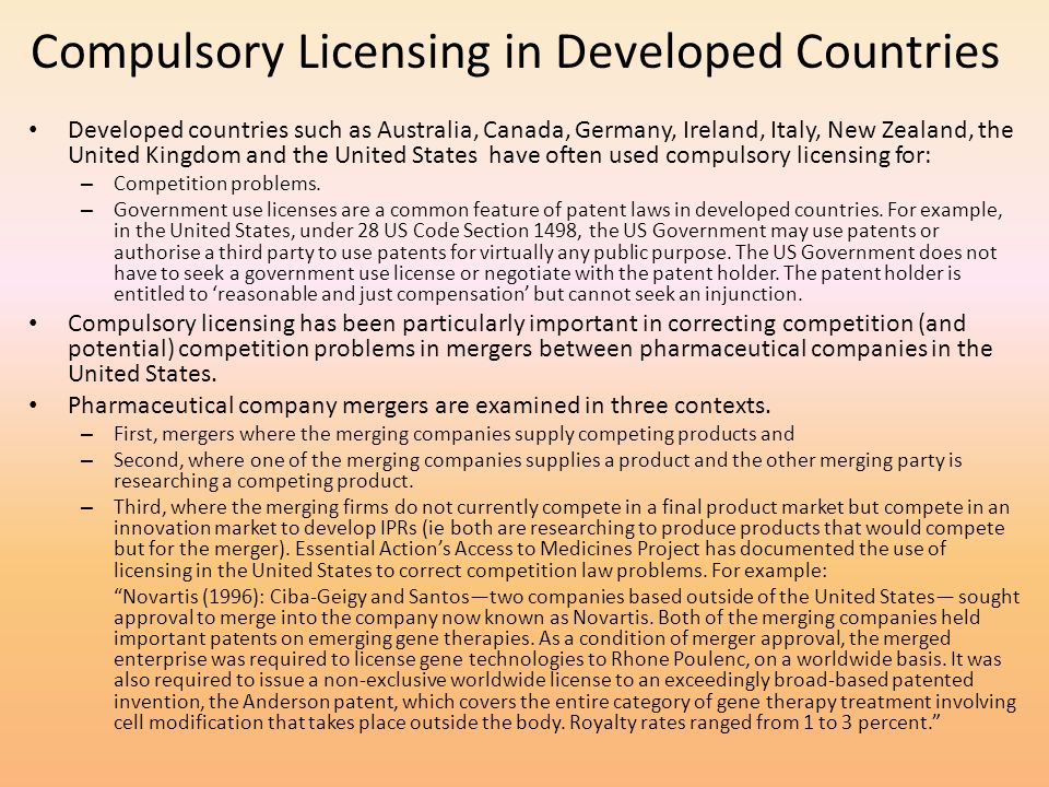 Compulsory Licensing in Developed Countries