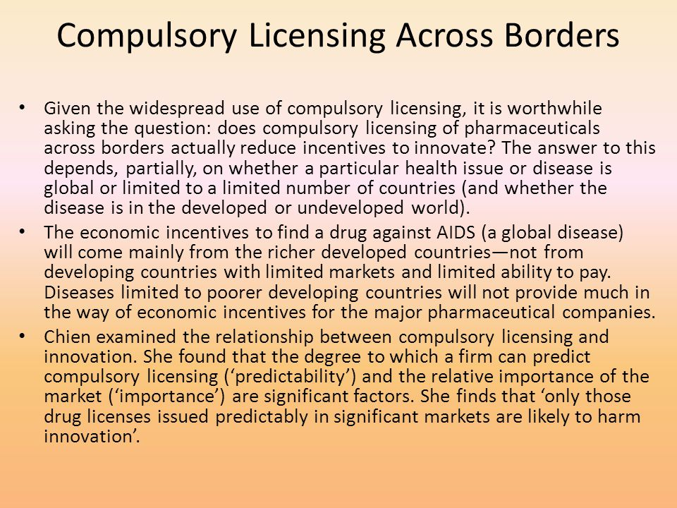Compulsory Licensing Across Borders