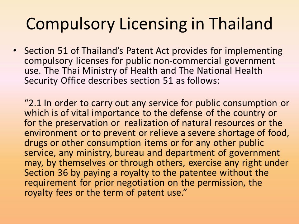 Compulsory Licensing in Thailand