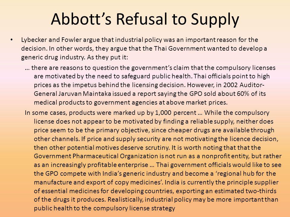 Abbott's Refusal to Supply