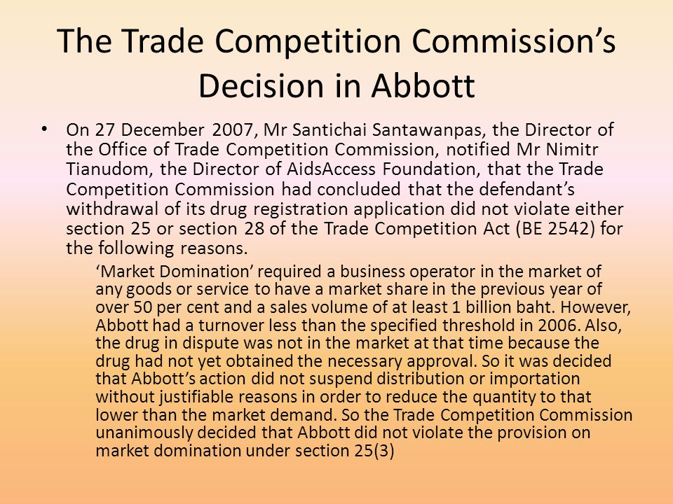 The Trade Competition Commission's Decision in Abbott