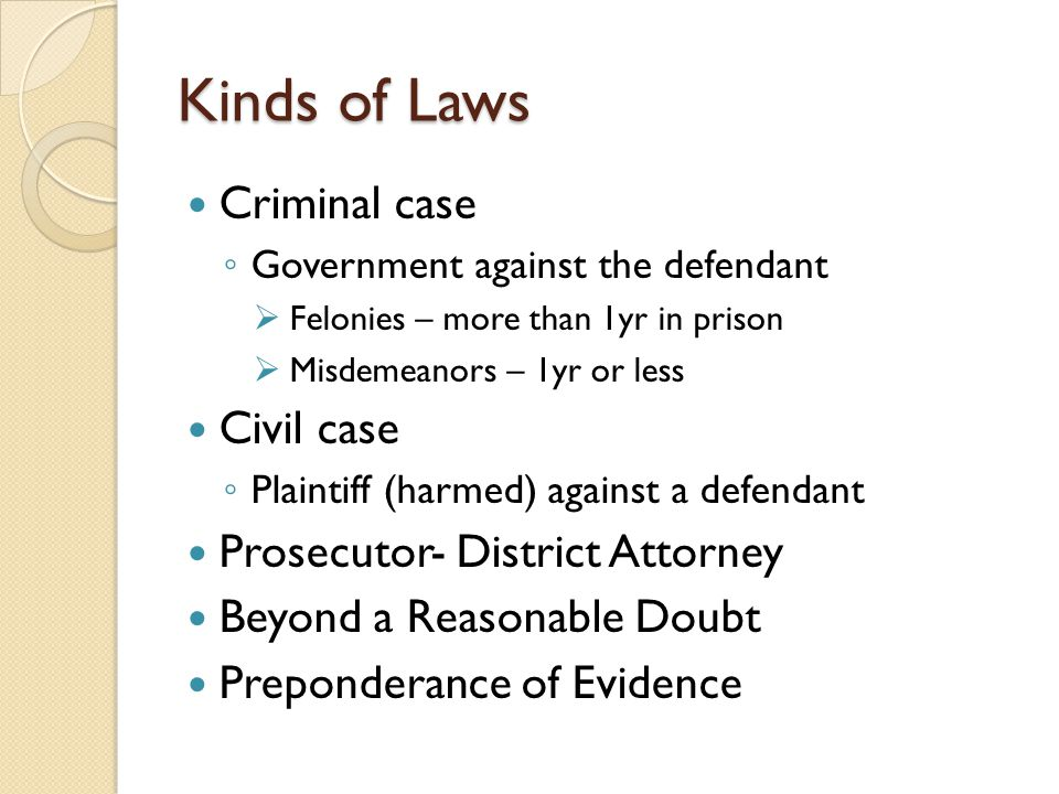 Kinds of Laws Criminal case Civil case Prosecutor- District Attorney