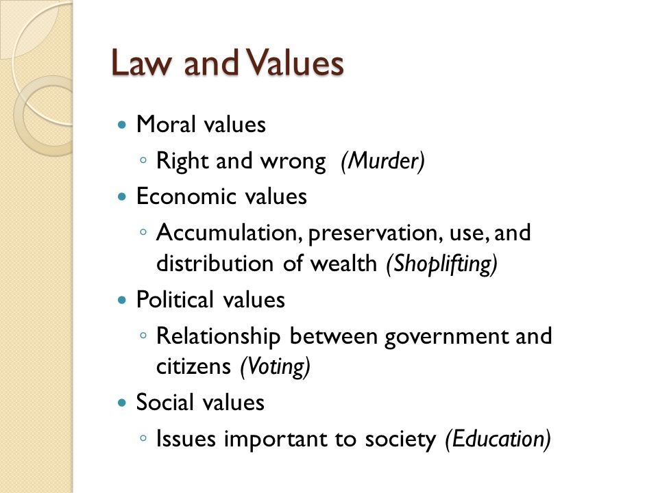 Law and Values Moral values Right and wrong (Murder) Economic values