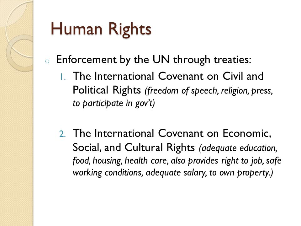 Human Rights Enforcement by the UN through treaties: