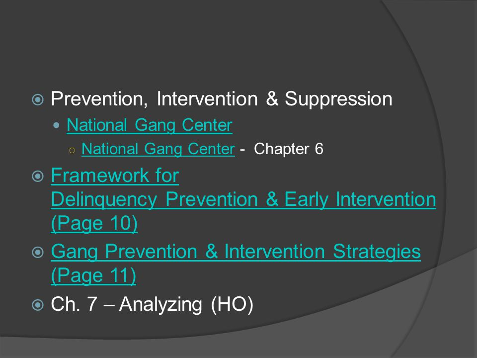 Prevention, Intervention & Suppression