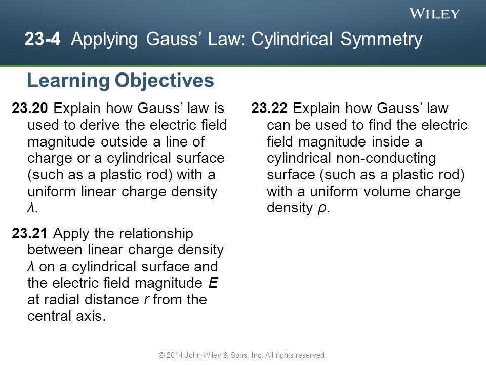 23-4 Applying Gauss' Law: Cylindrical Symmetry