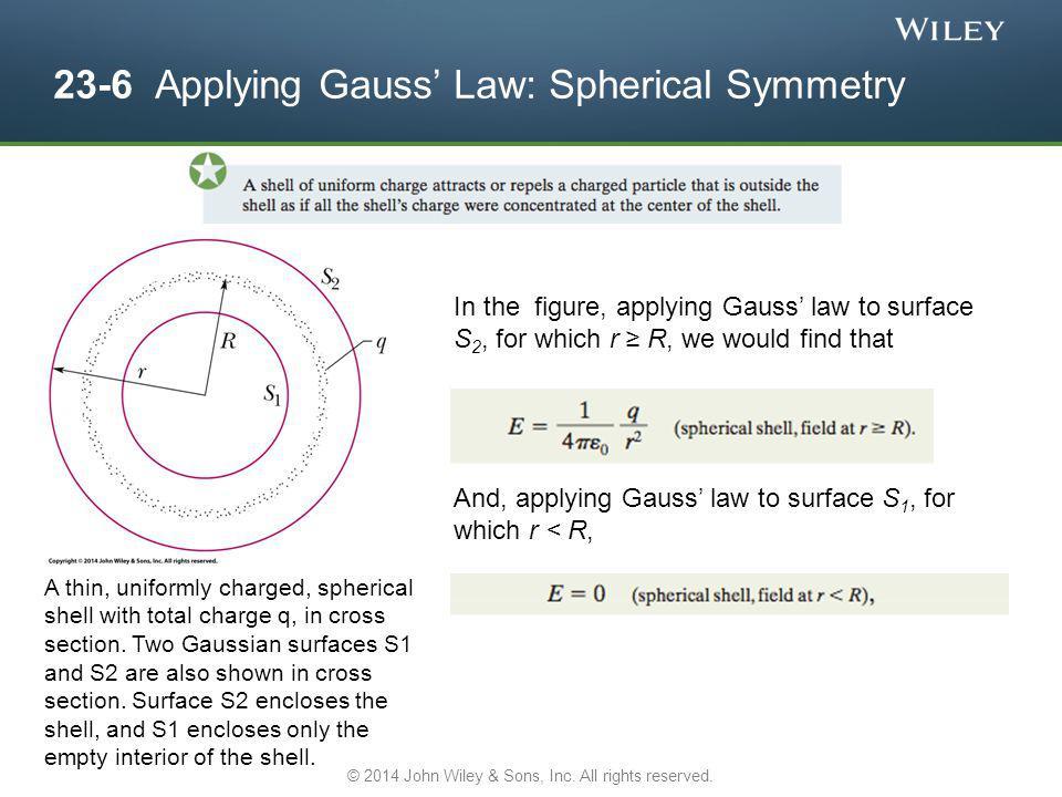 23-6 Applying Gauss' Law: Spherical Symmetry