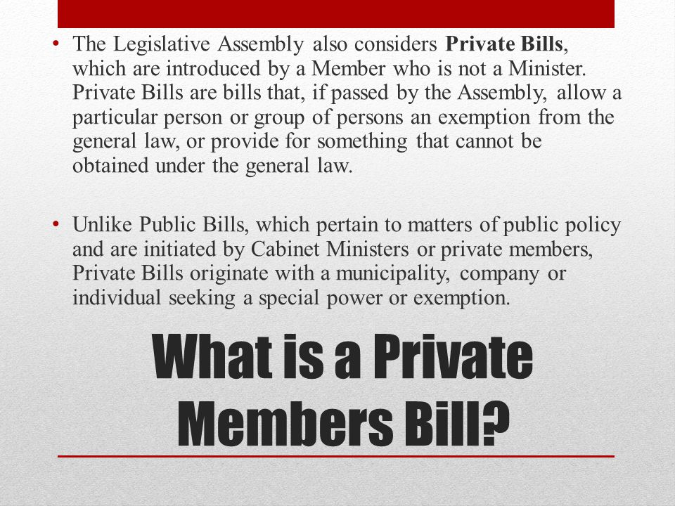 What is a Private Members Bill