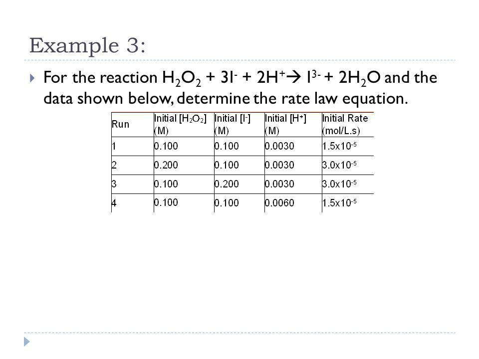 Example 3: For the reaction H2O2 + 3I- + 2H+ I3- + 2H2O and the data shown below, determine the rate law equation.