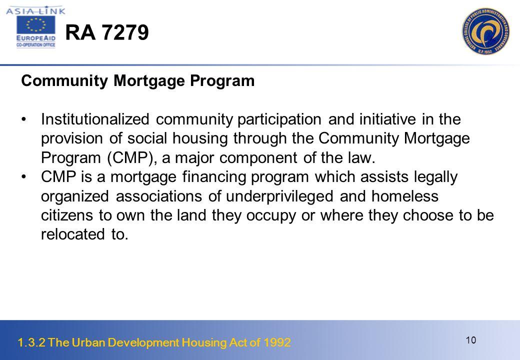 RA 7279 Community Mortgage Program
