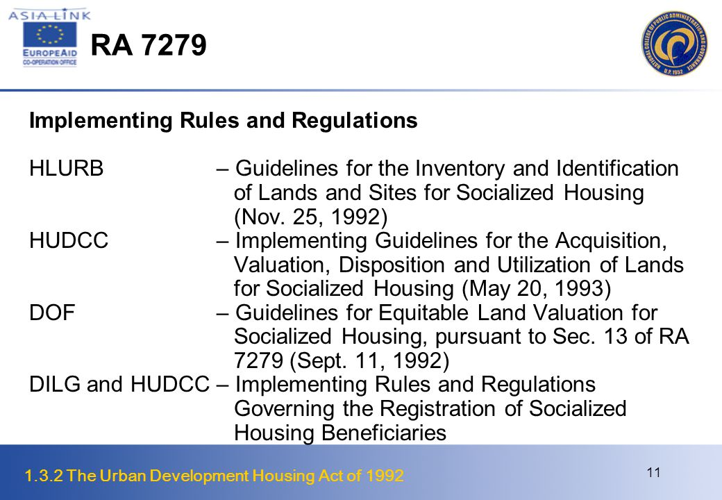 RA 7279 Implementing Rules and Regulations