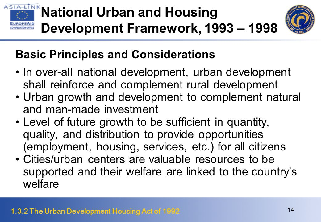 National Urban and Housing Development Framework, 1993 – 1998