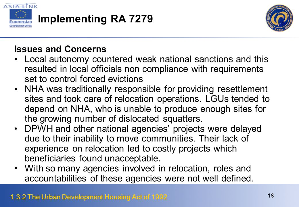 Implementing RA 7279 Issues and Concerns