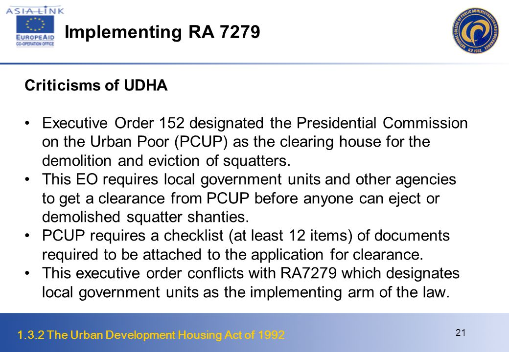 Implementing RA 7279 Criticisms of UDHA