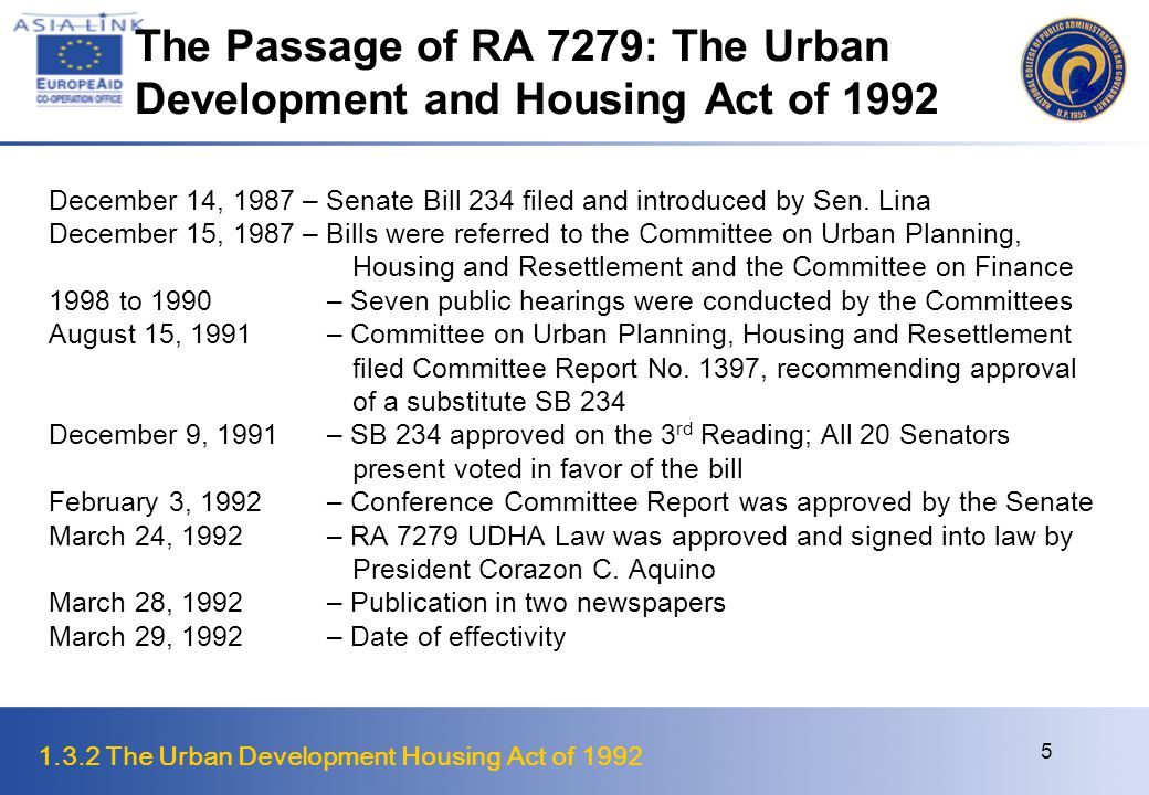 The Passage of RA 7279: The Urban Development and Housing Act of 1992