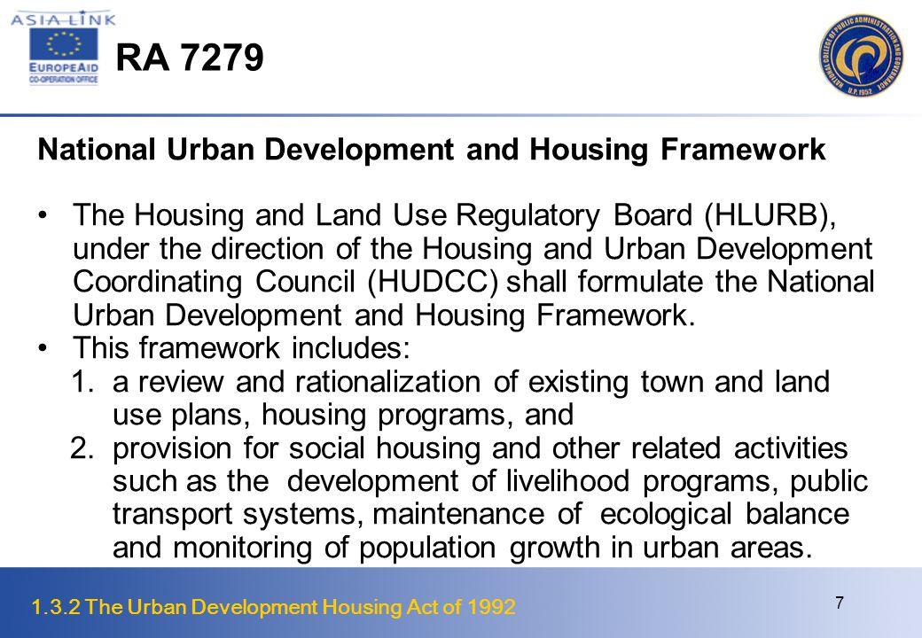 RA 7279 National Urban Development and Housing Framework