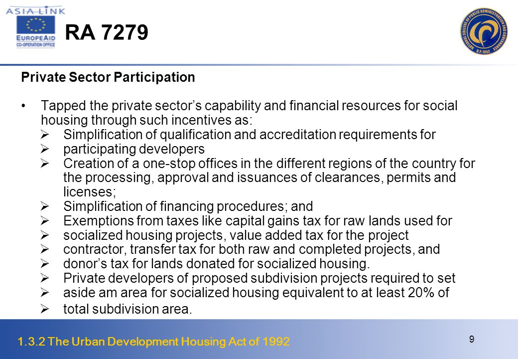 RA 7279 Private Sector Participation